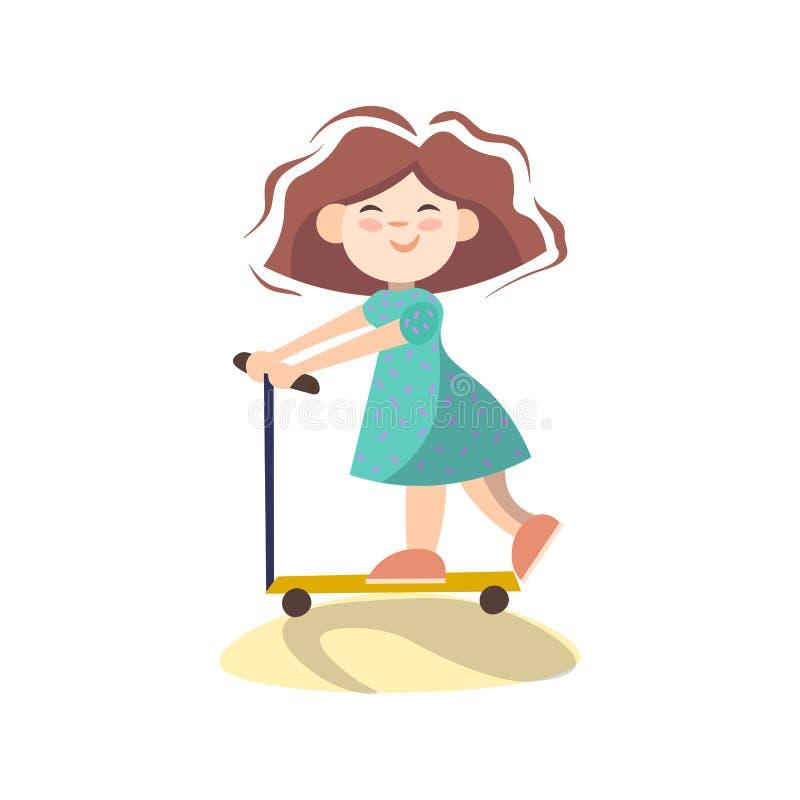 Pouco menina bonito no 'trotinette', ilustração dos desenhos animados do vetor isolada no fundo branco Menina feliz que tem o 'tr ilustração royalty free