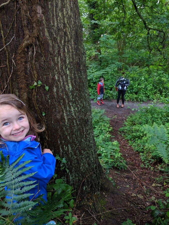 Pouco menina do smiley joga o esconde-esconde com sua família imagens de stock