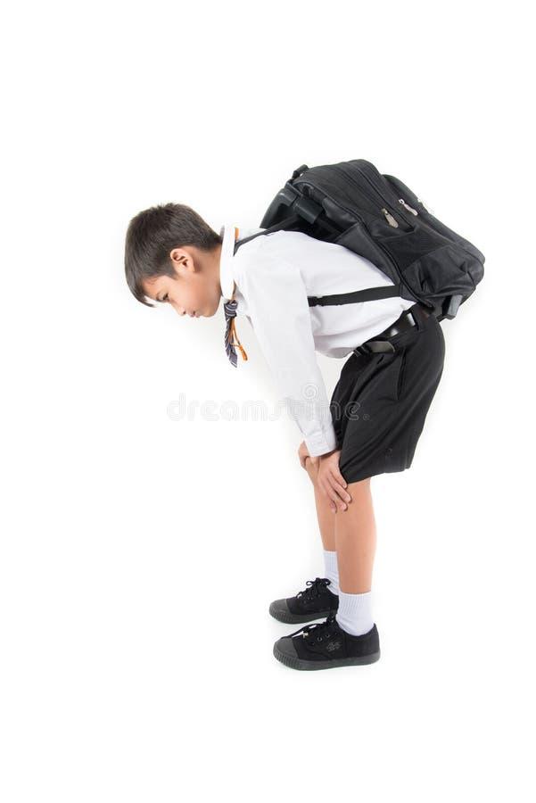 Pouco menino de escola que toma o saco pesado completamente dos livros sobre para trás imagens de stock royalty free