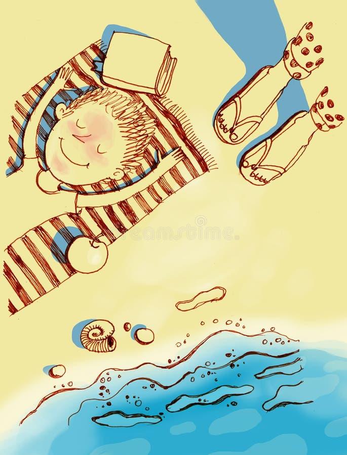Pouco menino dos sorrisos encontra-se na praia perto do mar ilustração stock
