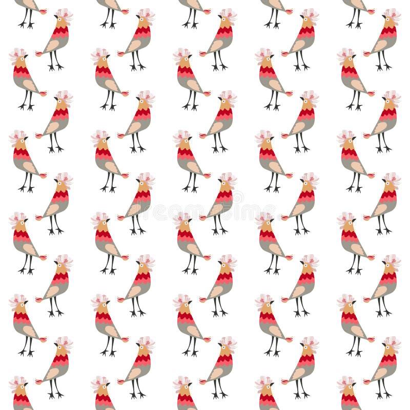 Pouco pássaros engraçados com crista na forma da flor do cosmos Teste padrão animal sem emenda no vetor Cópia para a tela, papel, ilustração royalty free