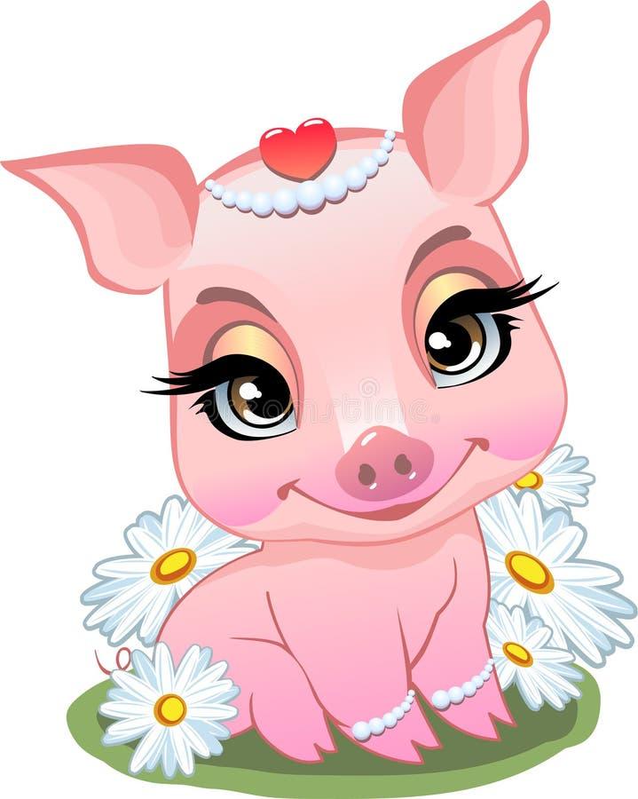 Pouco porco que senta-se nas margaridas ilustração do vetor