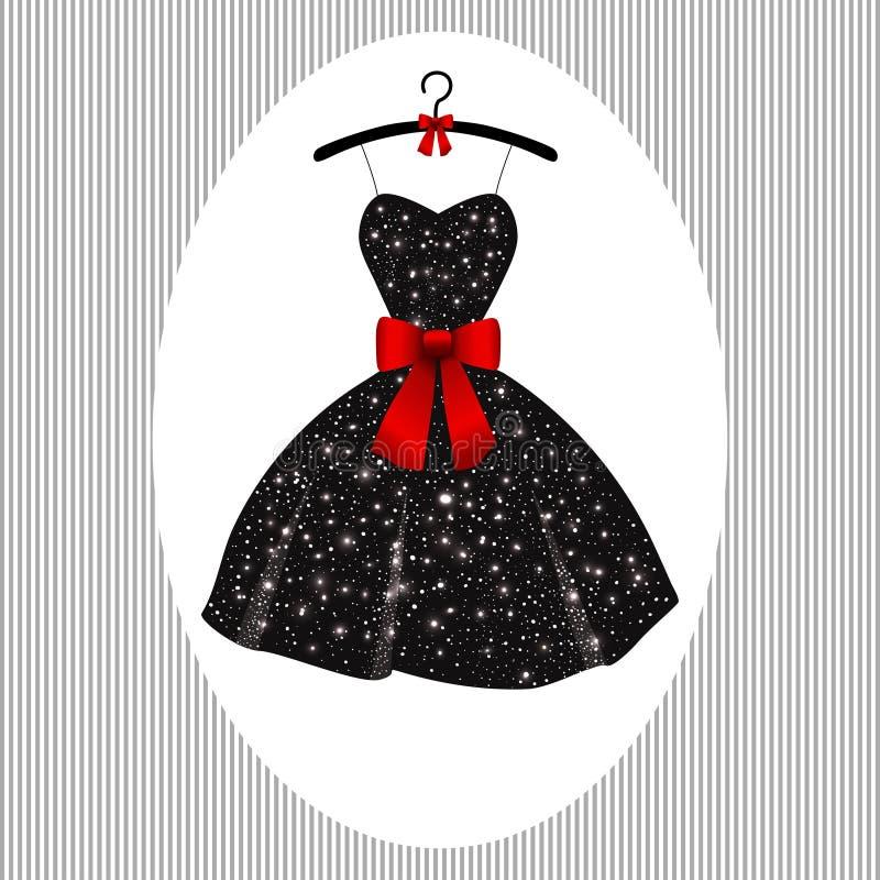 Pouco preto do vestido de noite em ganchos ilustração do vetor