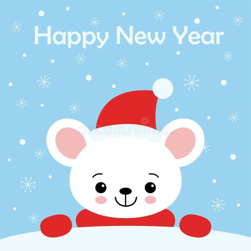 Pouco rato bonito em um tamp?o e em um len?o vermelhos de Santa s ilustração stock
