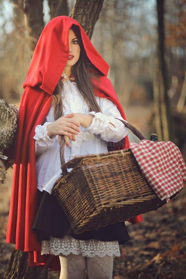 Pouco retrato da obscuridade da capa de equitação vermelha imagens de stock royalty free