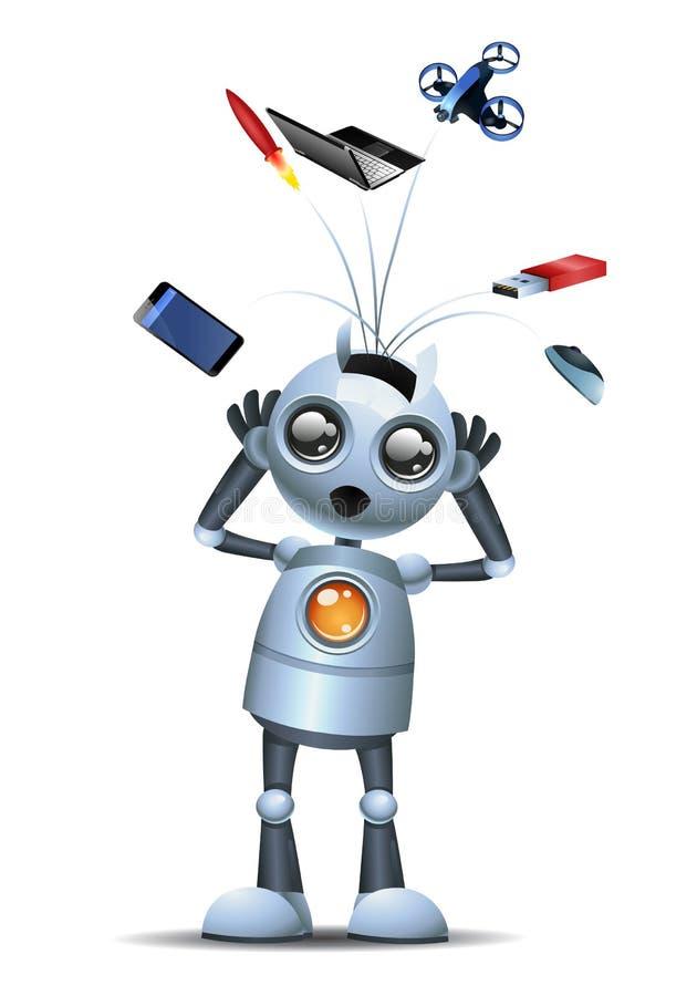 Pouco robô completamente das ideias sobre a nova tecnologia ilustração royalty free