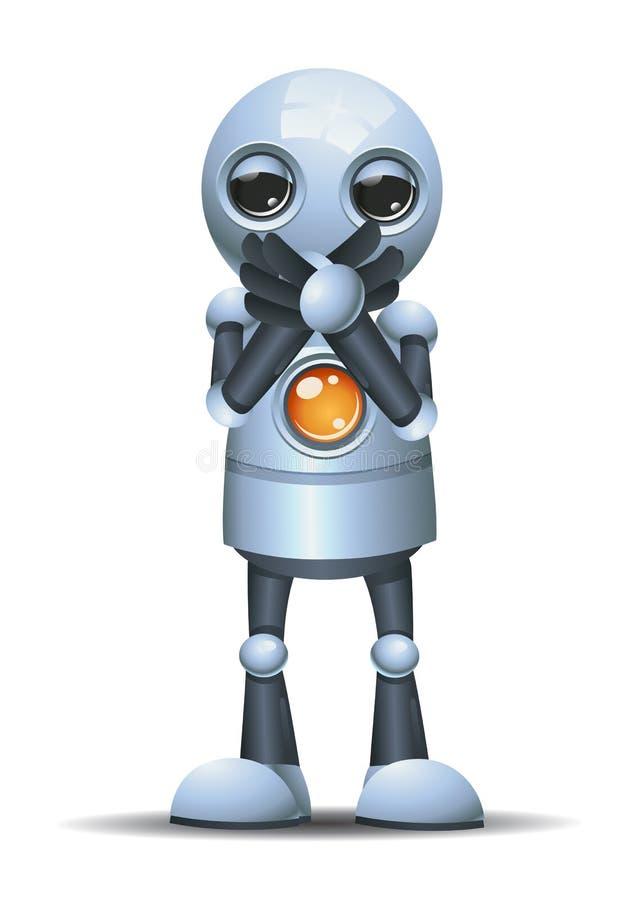pouco robô perto ele boca ilustração do vetor