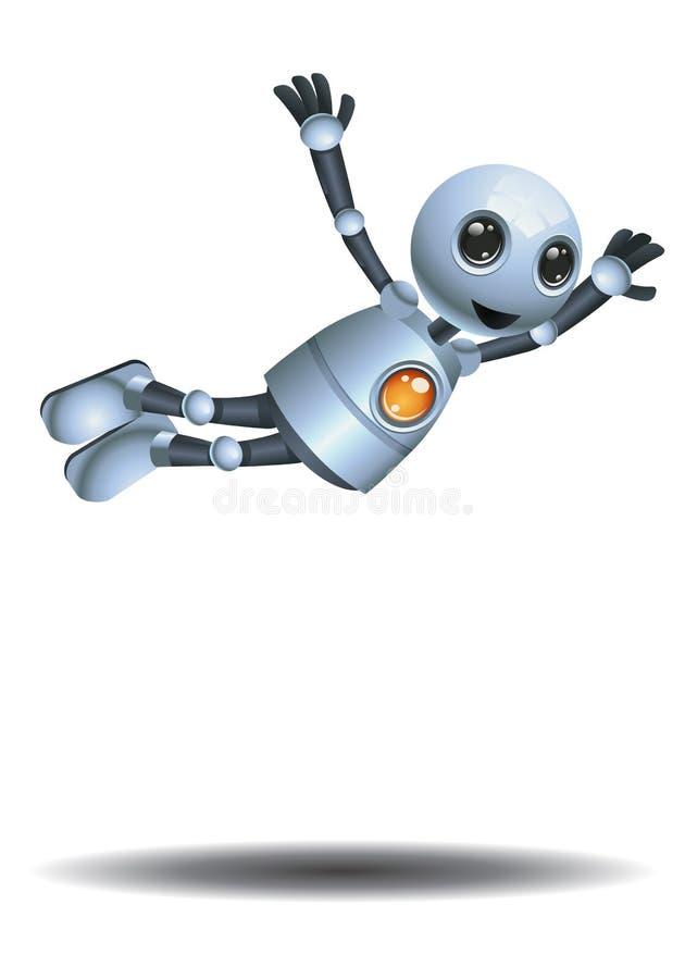 Pouco robô que faz o salto do mergulho ilustração stock