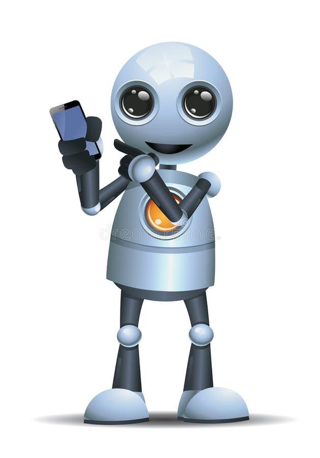 Pouco robô que mostra seu telefone celular ilustração do vetor