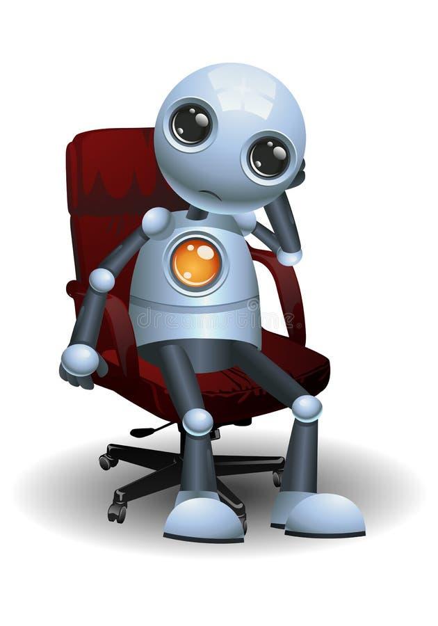 Pouco robô senta-se na cadeira do diretor ilustração royalty free