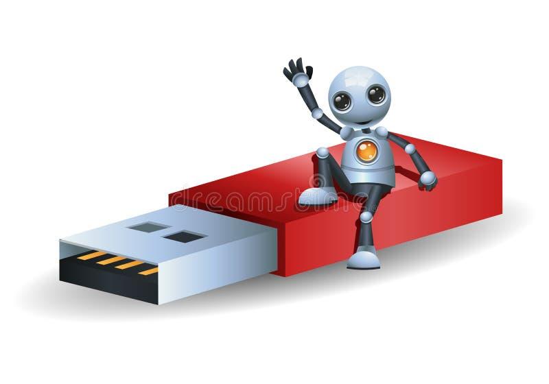 Pouco robô senta-se no disco instantâneo ilustração royalty free