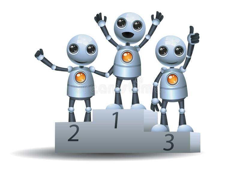 Pouco robô sobre o pódio do vencedor ilustração royalty free