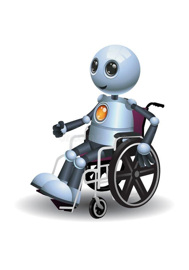 Pouco robô usando a cadeira de roda ilustração stock