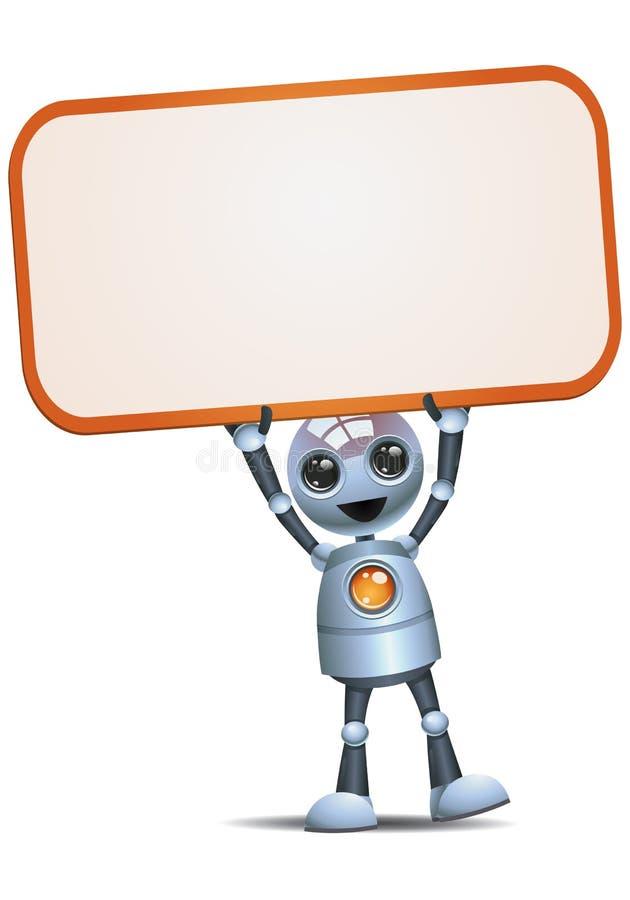 Pouco sinal vazio da posse e do levantamento do robô ilustração stock