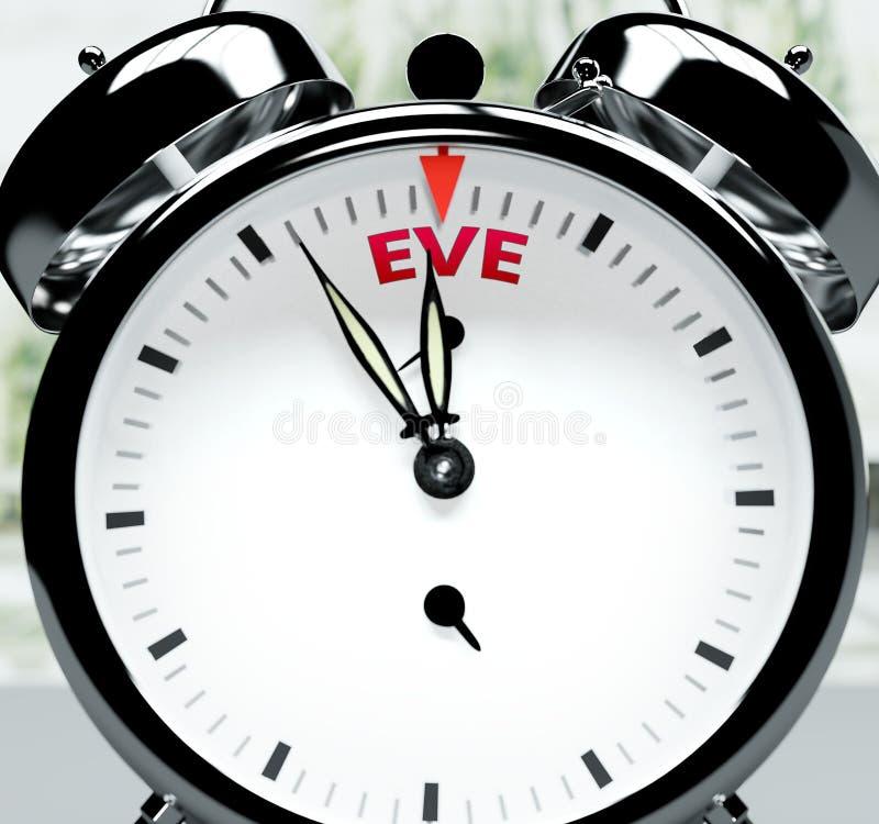 Pouco tempo depois, quase lá, em pouco tempo - um relógio simboliza um lembrete de que Eve está perto, acontecerá e terminará rap ilustração do vetor