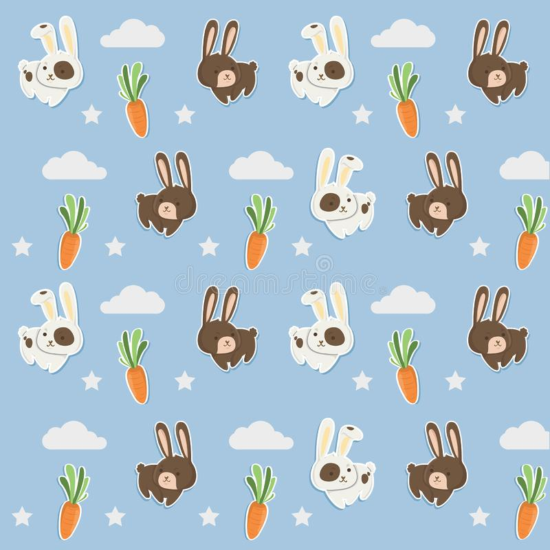 Pouco teste padrão da pele de coelho com cenouras bonitos ilustração stock