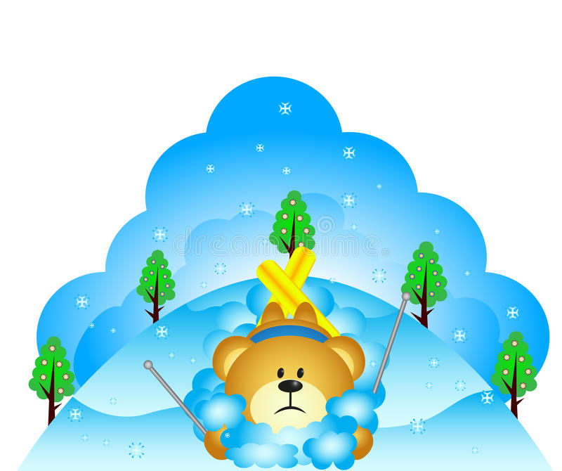 Pouco urso caiu ao esquiar ilustração stock