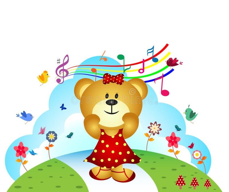 Pouco urso canta uma música no jardim ilustração stock