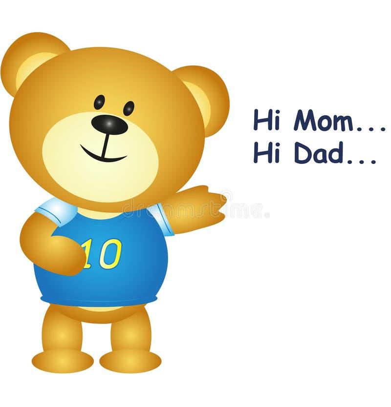 Pouco urso diz olá! a mamã e o paizinho ilustração royalty free