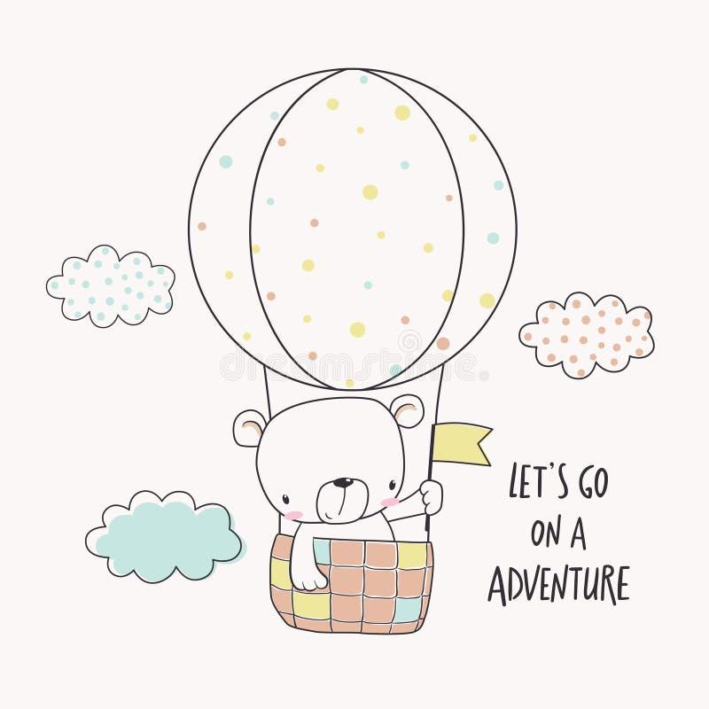 Pouco urso em um balão de ar quente ilustração royalty free