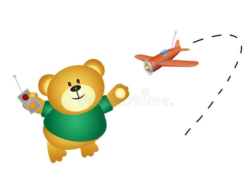 Pouco urso que joga com seu controlo a distância do avião ilustração do vetor
