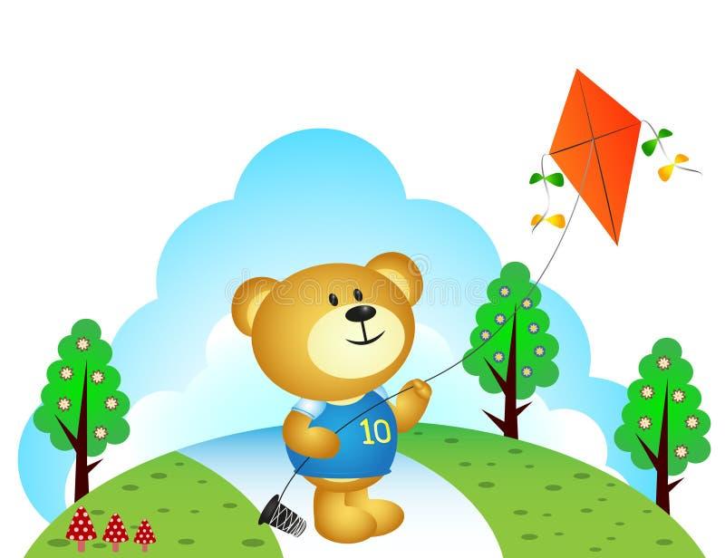Pouco urso que joga papagaios no parque ilustração do vetor