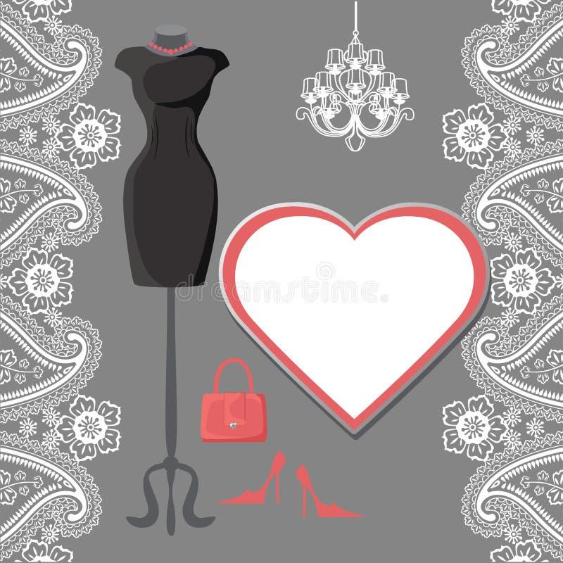 Pouco vestido preto com candelabro, etiqueta, beira de paisley ilustração stock