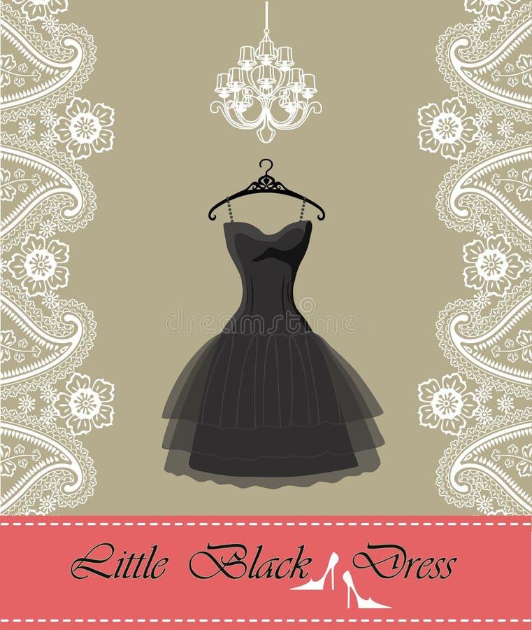 Pouco vestido preto com candelabro, fita, beira de paisley ilustração stock
