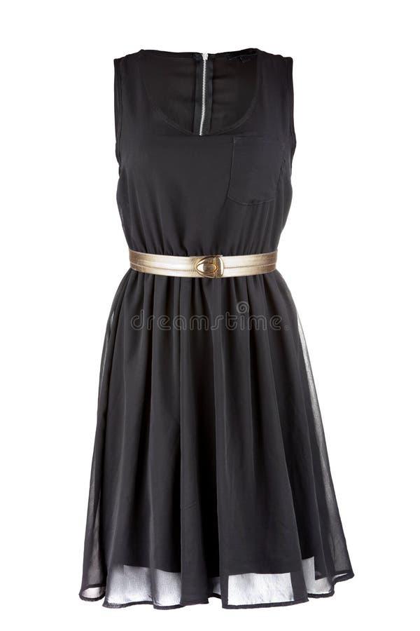 Pouco vestido preto com correia dourada imagens de stock royalty free