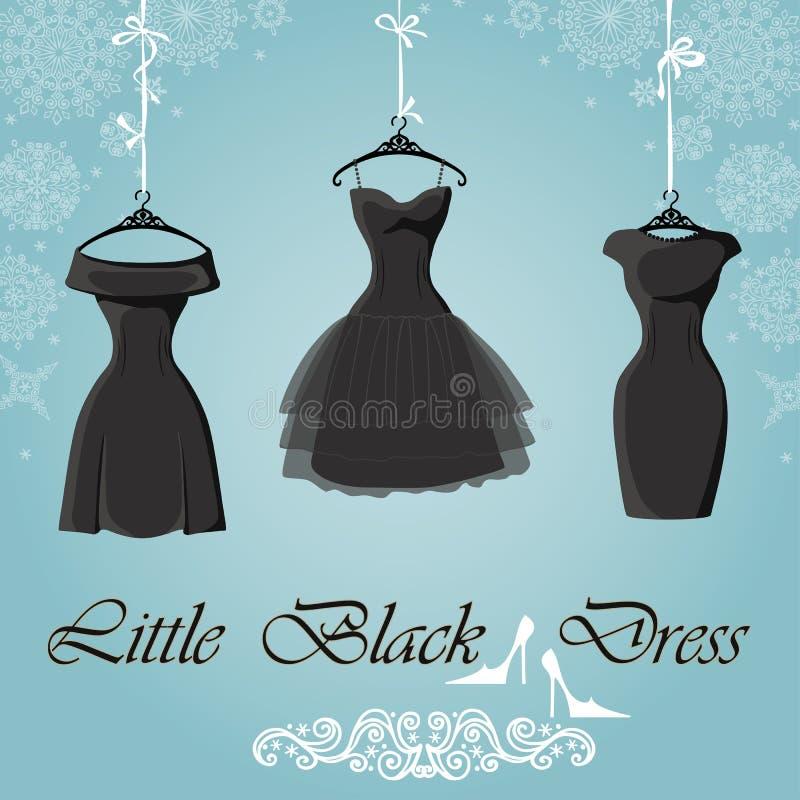 Pouco vestido preto Fundo dos flocos de neve do inverno ilustração do vetor