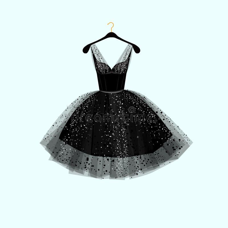 Pouco vestido preto Vestido de partido Ilustração do vetor ilustração stock