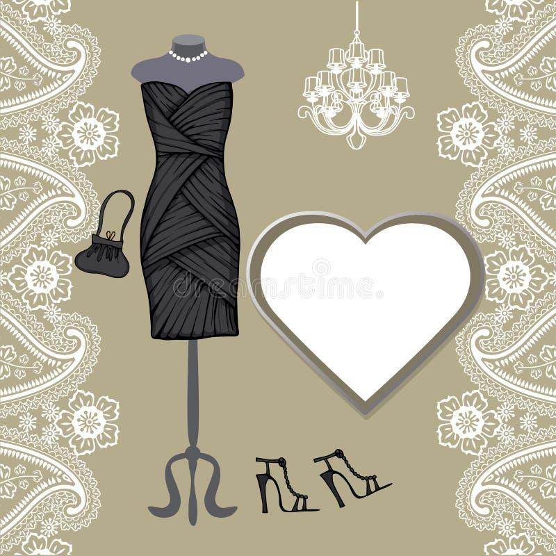 Pouco vestidos pretos, candelabro, beira de paisley ilustração royalty free