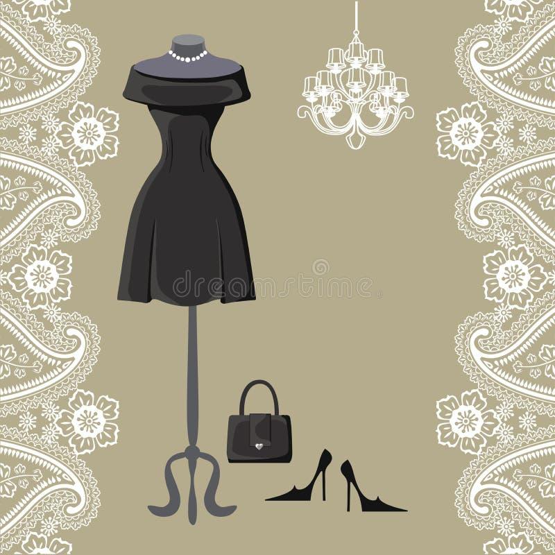 Pouco vestidos pretos com candelabro e beira de paisley ilustração do vetor