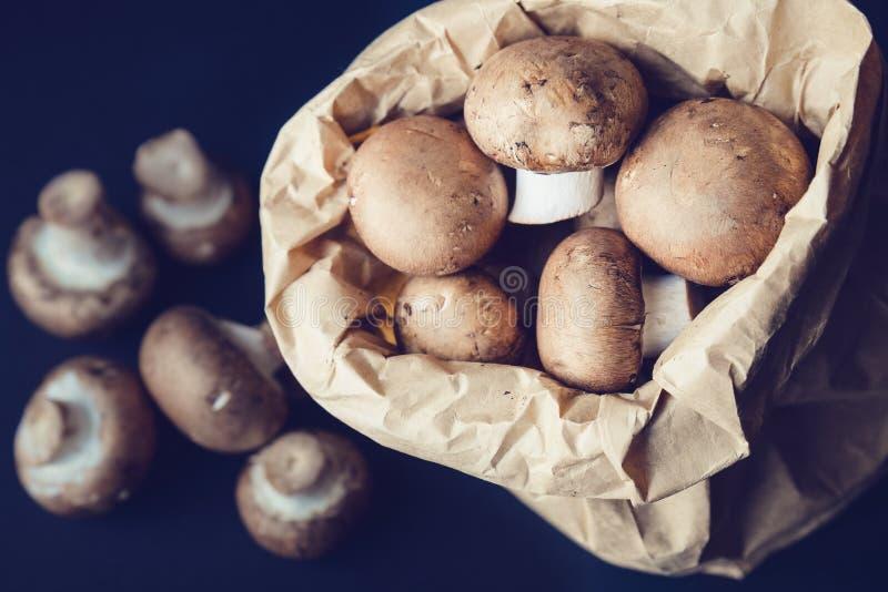 Poucos cogumelos do brwon em um saco de papel imagem de stock
