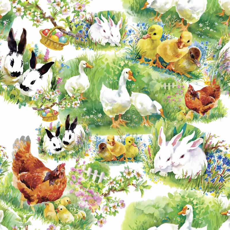 Poucos patinhos, galinhas e lebres bonitos macios da aquarela com teste padrão sem emenda dos ovos no fundo branco vector a ilust ilustração royalty free