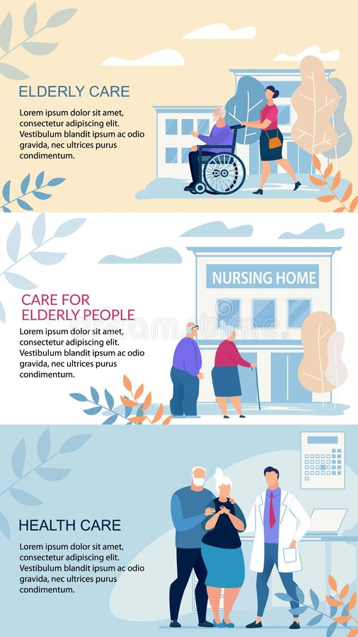 Pouczający Plakatowy Wpisowy starszej osoby opieki mieszkanie royalty ilustracja