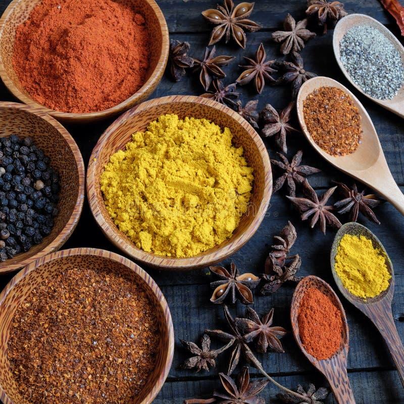 Poudre colorée d'épice, piment, poivre, safran des indes, anarcadier photographie stock
