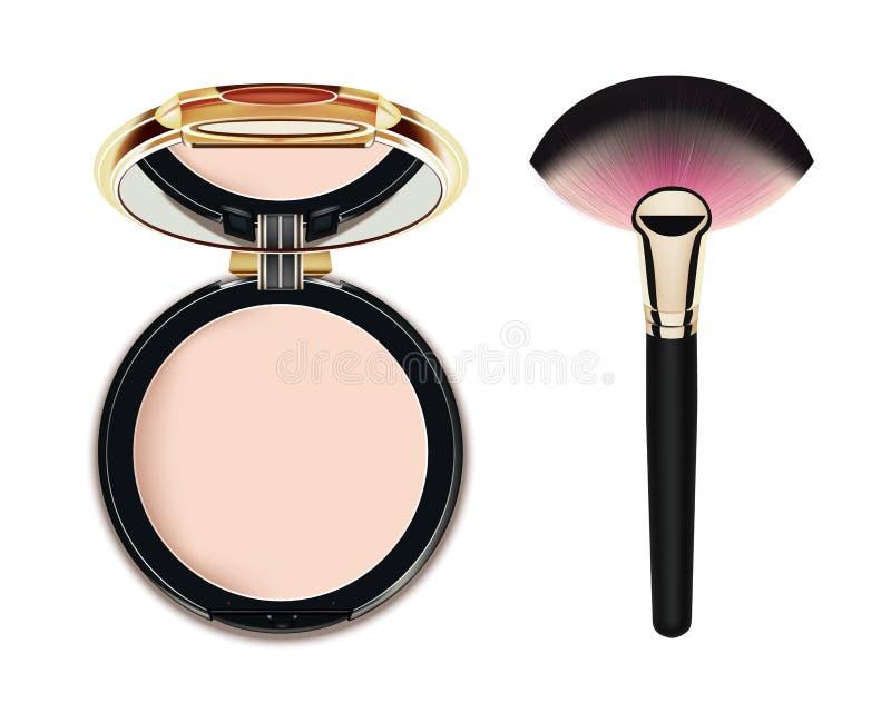 Poudre cosmétique de maquillage de visage illustration stock