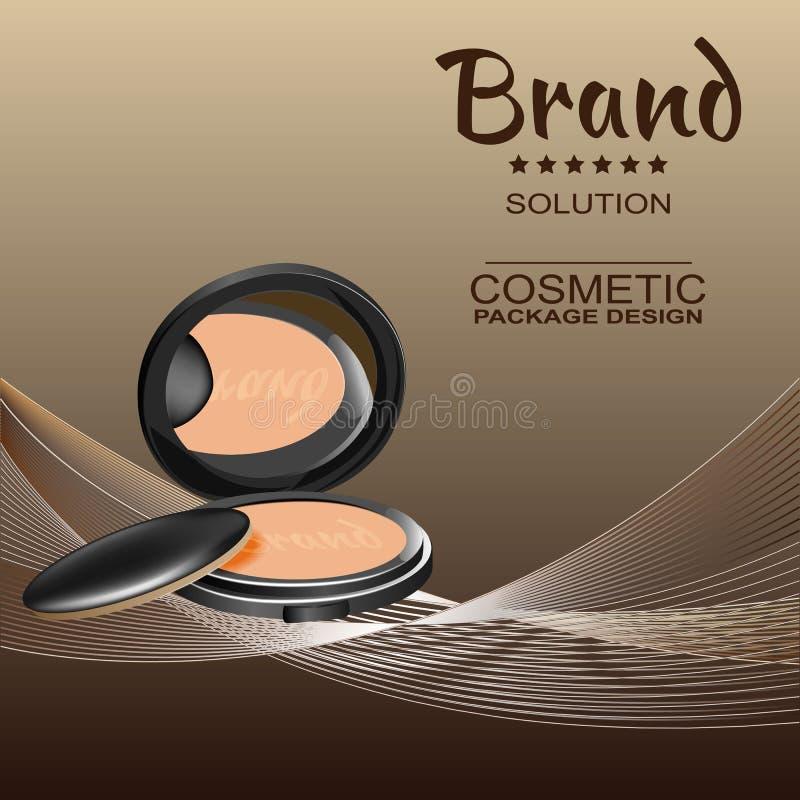 Poudre cosmétique pour le visage dans un fond brun et des fils multicolores illustration libre de droits