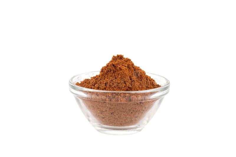 Poudre d'épice de cinq dans la cuvette en verre photos libres de droits