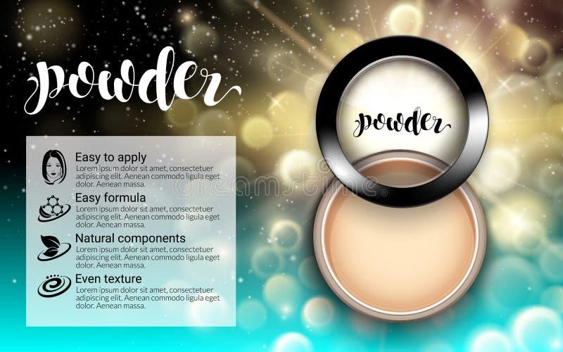 Poudre dans la vue supérieure ronde noire de boîtier en plastique Maquillage fascinant de cosmétique de mode texture de liquide d illustration stock