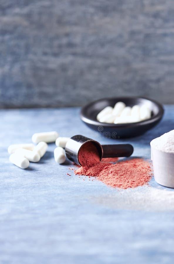 Poudre de créatine, scoop des capsules de protéine de lactalbumine et de taurine Nutrition de sport photos libres de droits