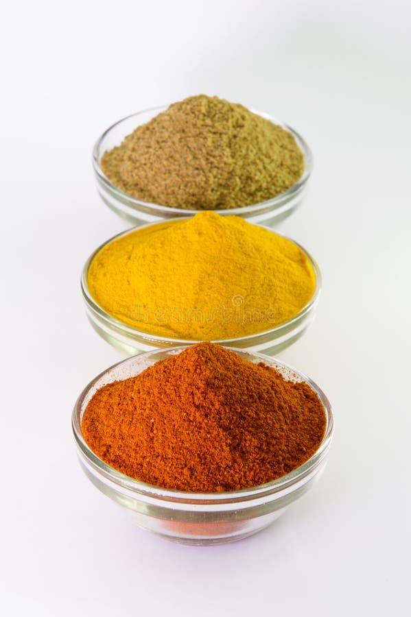 Poudre de poudre de piments, de poudre de safran des indes et de coriandre dans la cuvette photos stock