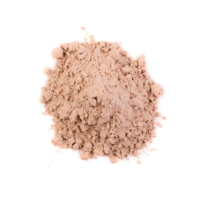Poudre de protéine de cacao de petit lait pour la secousse brune de forme physique d'isolement photos stock
