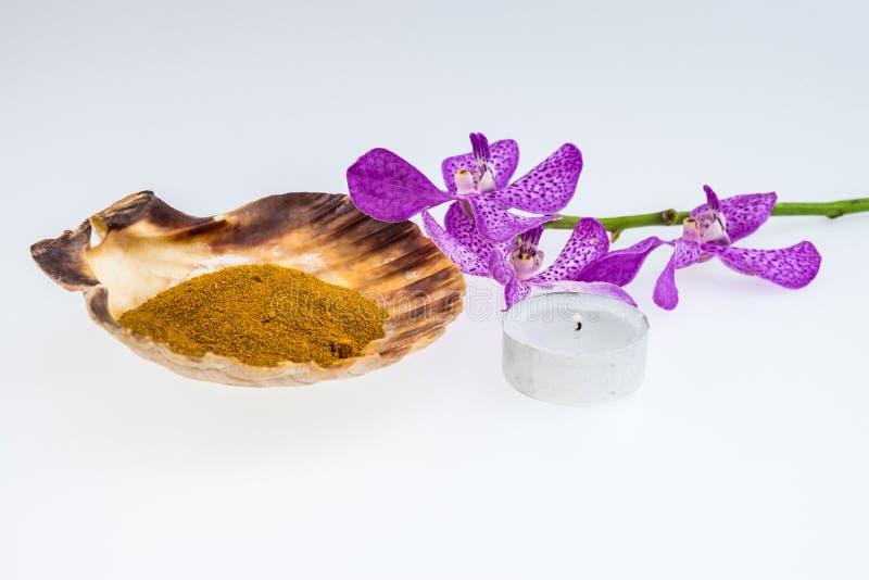 Poudre de safran des indes dans le coquillage avec les orchidées de mokara et le lig roses de thé photos stock