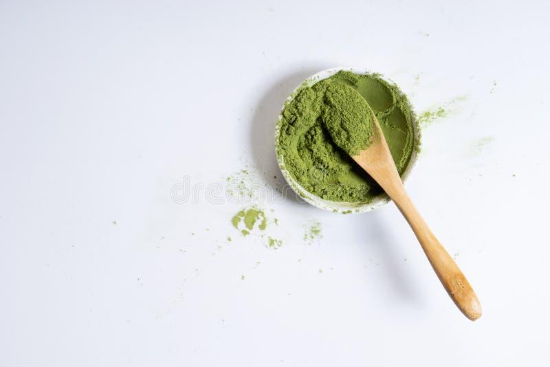 Poudre de th? vert de Matcha image stock