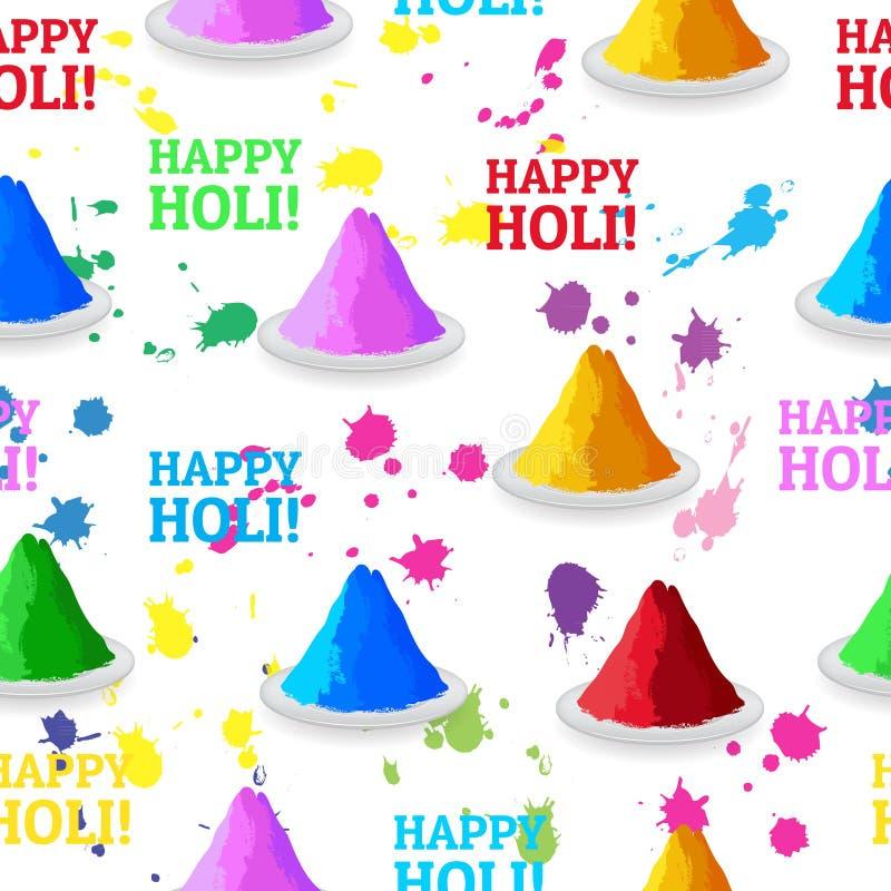 Poudres et éclaboussure de couleurs colorées par festival indien illustration de vecteur