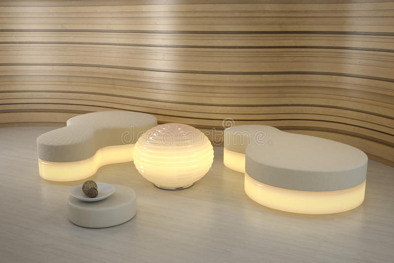 pouffe oświetleniowy nowożytny pokój obrazy stock