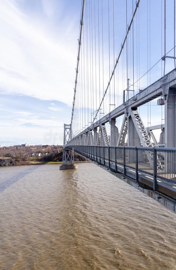 Poughkeepsie, NY / United States - Nov. 29, 2019: an image of  The Franklin Delano Roosevelt Mid-Hudson Bridge, a steel suspension. The Franklin Delano Roosevelt stock image