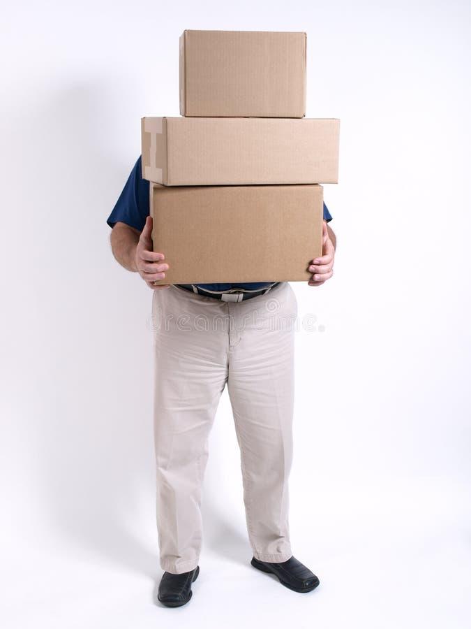 poukładał pudełek 3 człowieku fotografia stock